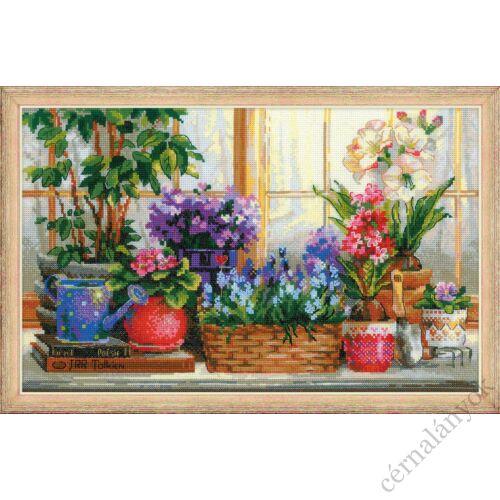 Ablakpárkány virágokkal - keresztszemes készlet
