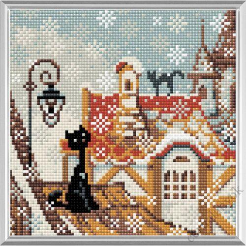 Diamond Mosaic készlet - Macskák város és tél