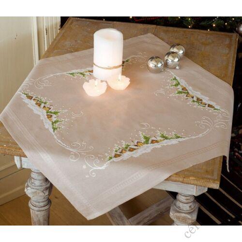Hófödte táj előnyomott keresztszemes asztalterítő