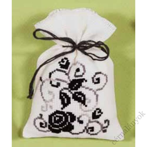 Illatzsák - fekete fehér rózsás