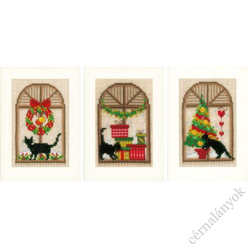 Hímezhető karácsonyi képeslap - cicás