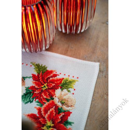 Vervaco - karácsonyi keresztszemes asztali futó - Virágok