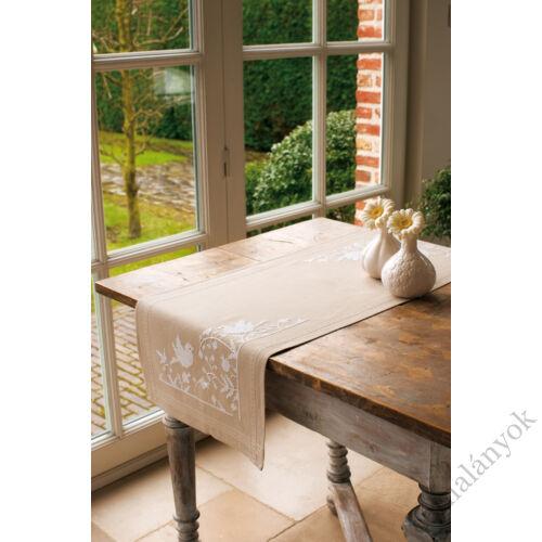 Vervaco - karácsonyi keresztszemes asztali futó - Fehér madarak