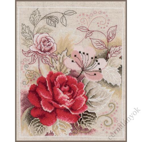 Csokor rózsával - Vervaco keresztszemes készlet