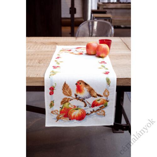 Vervaco asztali futó - Vörösmellű vörösbegy almával