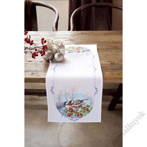 Vervaco - karácsonyi keresztszemes asztali futó - Madarak ágon
