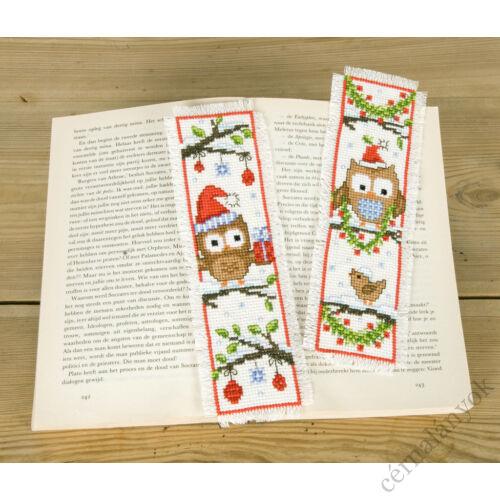 Baglyos karácsonyi keresztszemes könyvjelző (2 db)