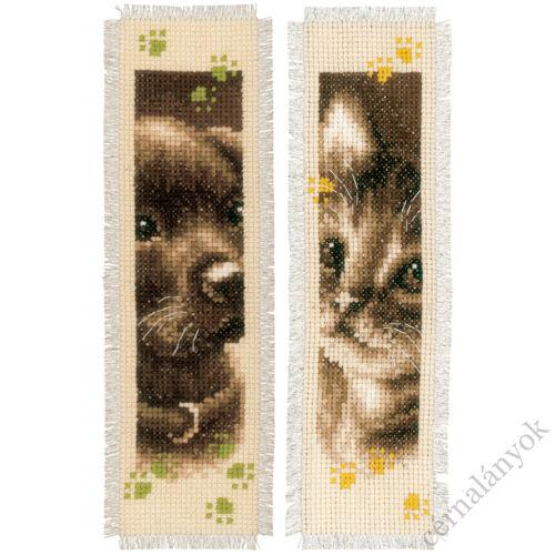 Kutyus és cicus keresztszemes könyvjelző (2 db)
