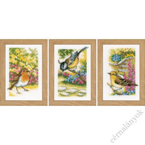 Kerti madarak - 3 darabos Vervaco keresztszemes készlet