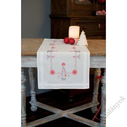 Vervaco - karácsonyi hímezhető asztali futó - Karácsonyfák