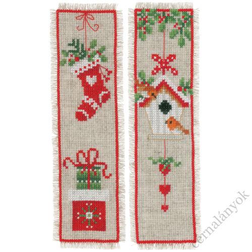 Karácsonyi motívumok - keresztszemes könyvjelző (2 db)