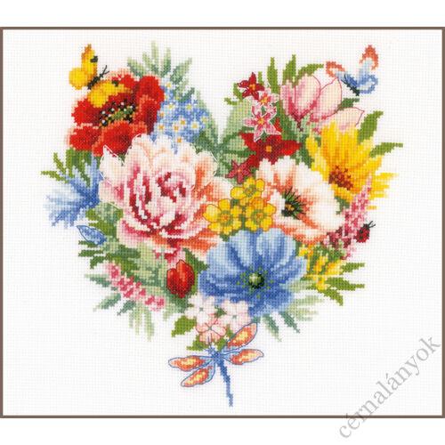 Virágszív Vervaco keresztszemes készlet
