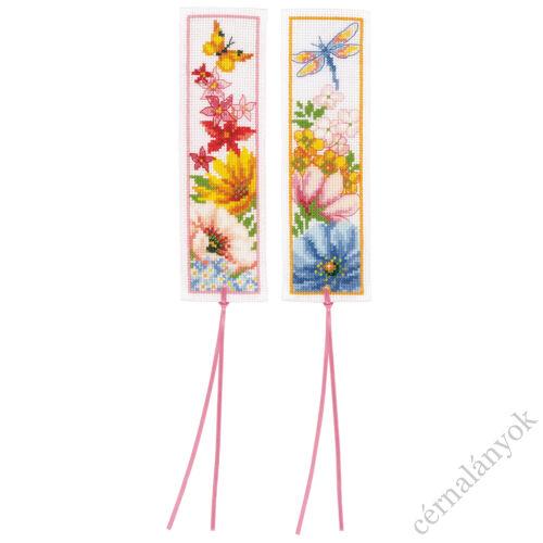 Színpompás virágok - keresztszemes könyvjelző szett (2 db)