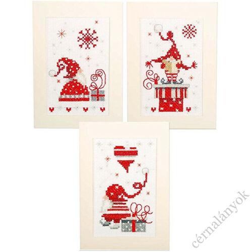 Hímezhető karácsonyi képeslap - manós
