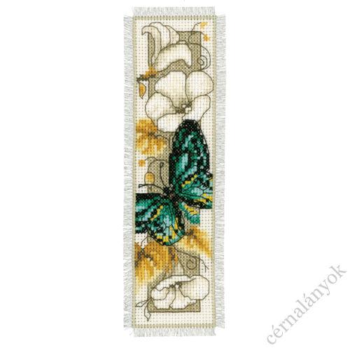 Zöld pillangós keresztszemes könyvjelző