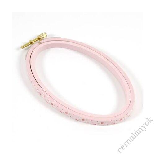 DMC ovális virágos hímzőráma / képkeret - rózsaszín