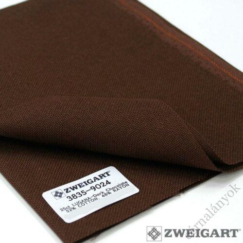 Zweigart Lugana hímzővászon csokoládébarna - 25 ct - 140 cm széles