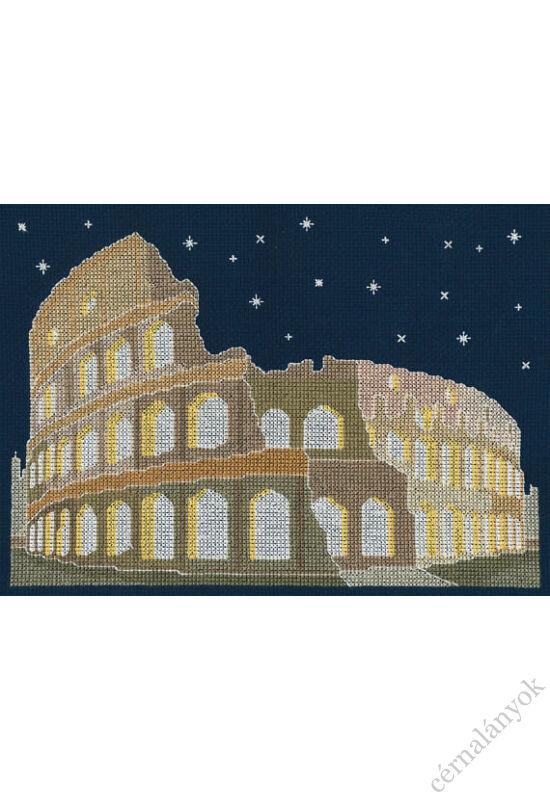 Róma éjjel - keresztszemes készlet sötétben világítós fonallal