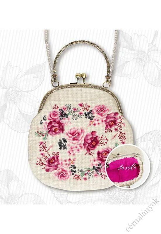 Rózsamintás keresztszemes táska rusztikus alapon