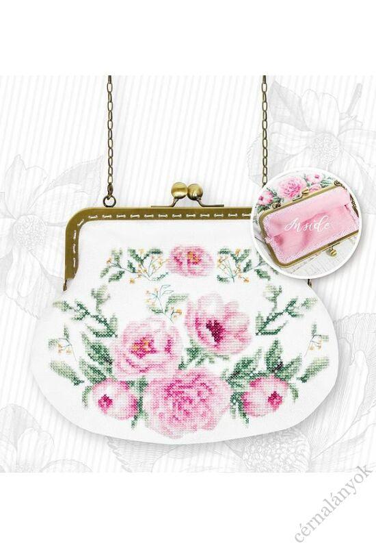 Rózsaszín rózsás keresztszemes táska