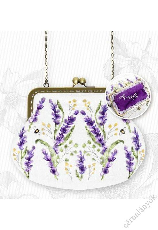 Levendula mintás keresztszemes táska lila belsővel