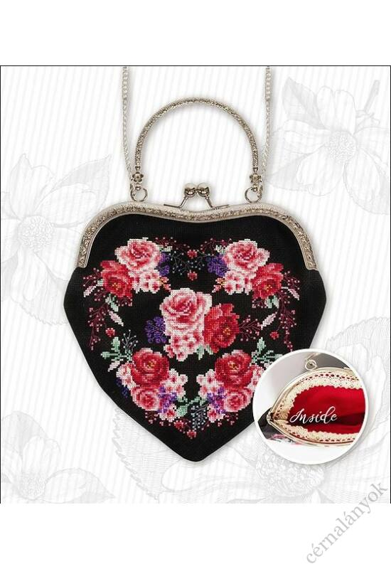 Vörös rózsák fekete alapon keresztszemes táska