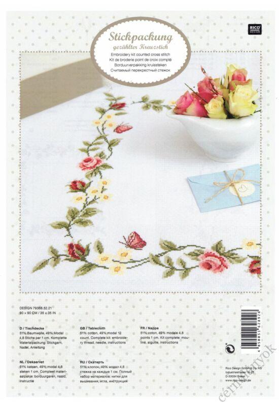 Rico hímezhető terítő - Rózsák és pillangók