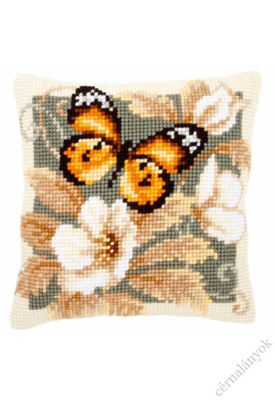 Fekete - narancs pillangó párna