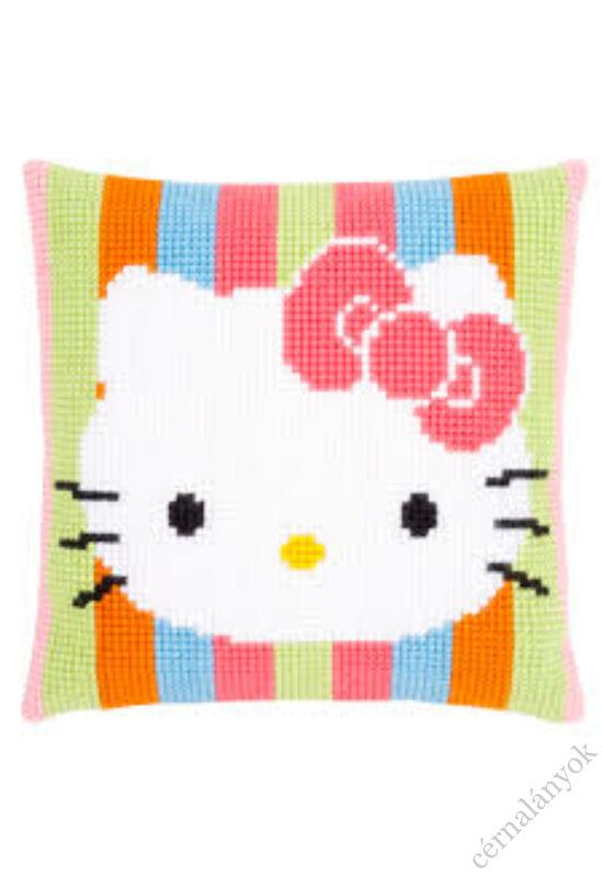 Hello Kitty csíkos keresztszemes párna