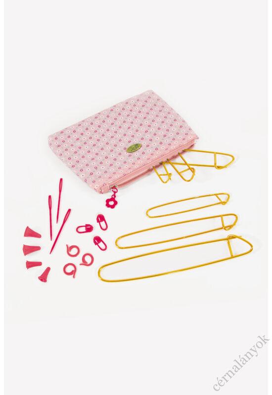 DMC neszeszer kötős kellékekkel - rózsaszín
